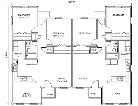 floor plans for duplexes duplex house plan j949d plansource