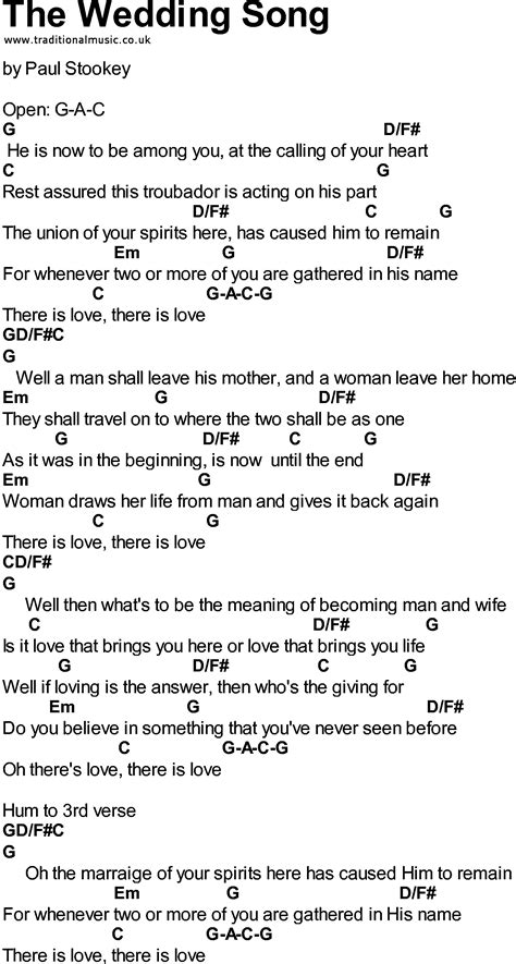 Wedding Song Guitar Chords by Bluegrass Songs With Chords The Wedding Song