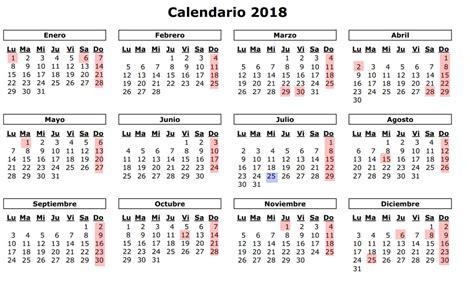 Calendario 2018 De Colombia Calendario 2018 Usa Con Feriados Para Imprimir