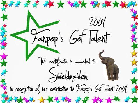 shieldmaiden certificate fanpop s got talent photo