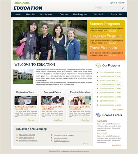 website template design for education www imgkid com