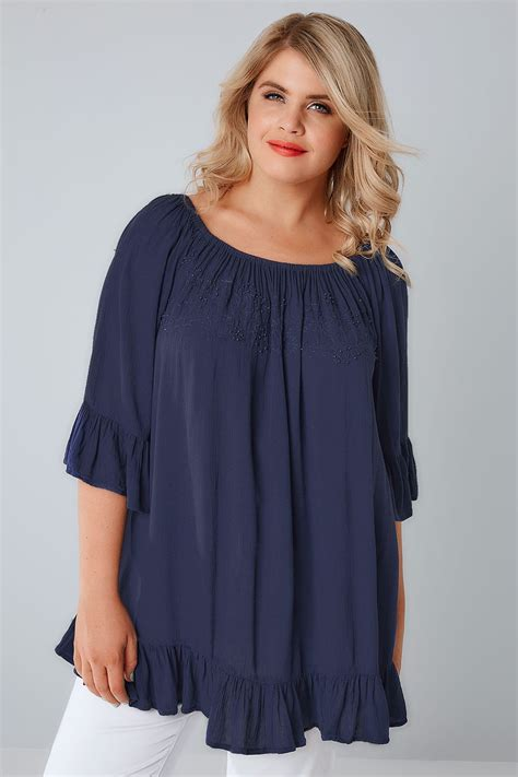 Top Navy navy bardot top with beaded details flute sleeves