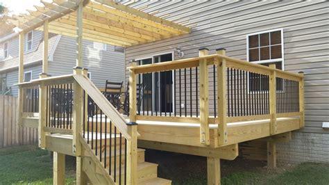 Black Deck Balusters Custom Wood Deck W Wood Railings Black Aluminum