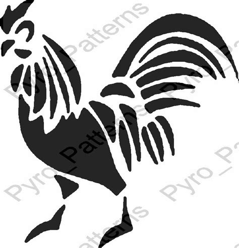 rooster bird pyrography wood burning pattern printable