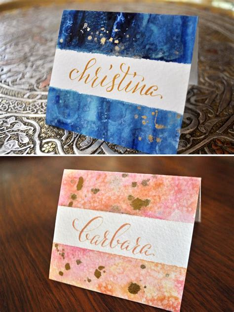 diy place cards diy watercolor calligraphy place cards molly suber