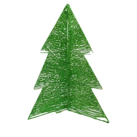 60cm christmas tree wire w glitter metal fold out 3 sides