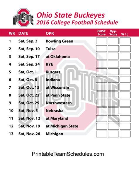 printable schedule ohio state football 2015 ohio state buckeyes football schedule 2016 printable