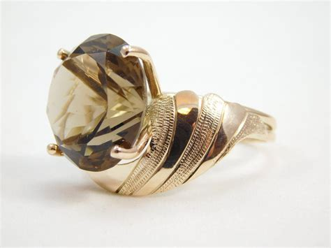 10 karat yellow gold smoky topaz ring from edbergjewelry