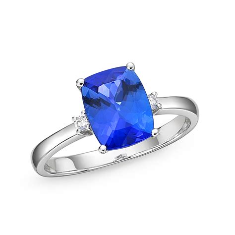 ring cusion cushion shaped tanzanite diamond solitaire ring 2 91 ct