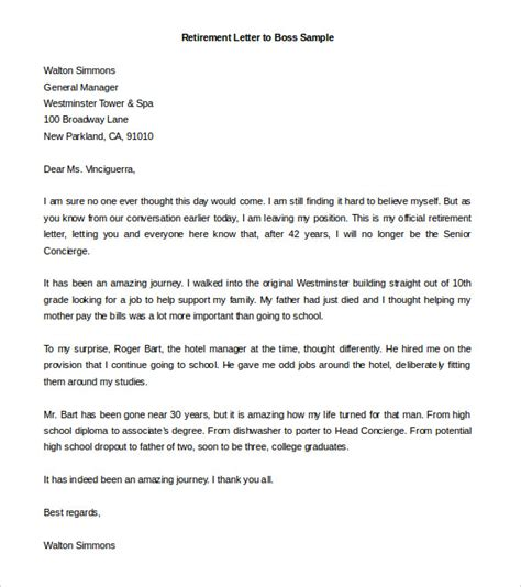 retirement letter sle retirement letter template business