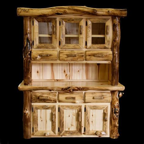 Aspen Lodge 3 Bay Rustic and Gnarly Aspen Buffet & Hutch