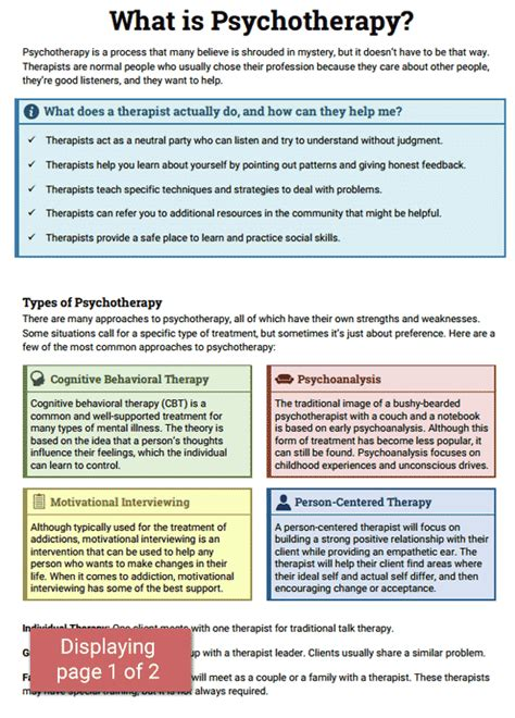 what is therapy in mental health psychotherapy info sheet worksheet therapist aid