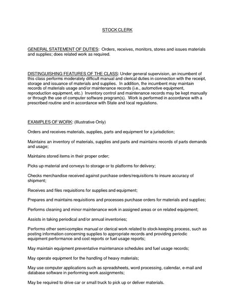 Stock Clerk Description For Resume best photos of general office clerk resume exle