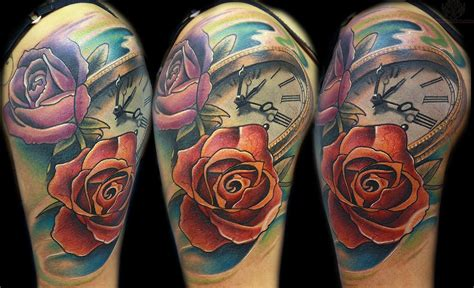skull and roses full sleeve tattoos awesome clock and tattoos on half sleeve 187 ideas