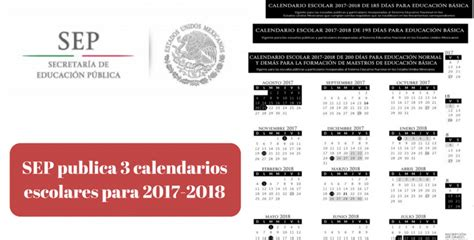 Calendario 2018 Mexico Sep La Sep Publica 3 Calendarios Escolares Para 2017 2018