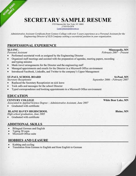 Medical Secretary Sample Resume by Top Wonderful Secretary Resume Examples
