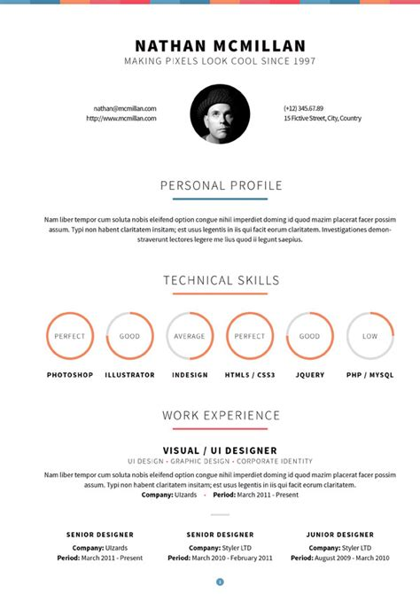 curriculum responsive resume one page portfolio by qbkl