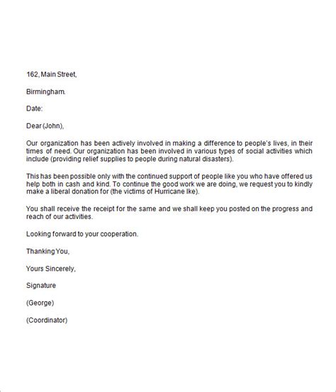 charity letter format donation request letter 8 free for word