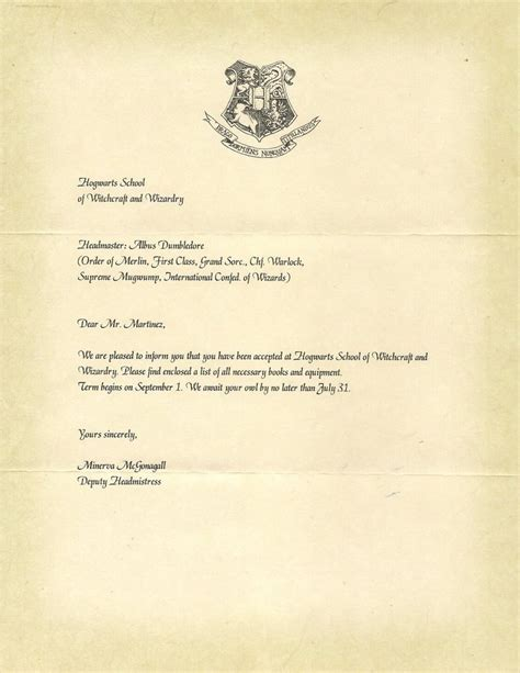 Acceptance Letter For Hogwarts School Of Witchcraft And Wizardry Hogwarts Acceptance Letter P 1 By Javi3108 On Deviantart