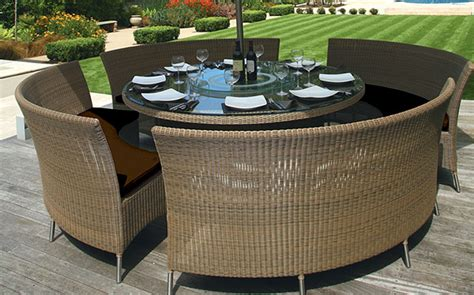 outdoor dining bench seating patio table mezzo round