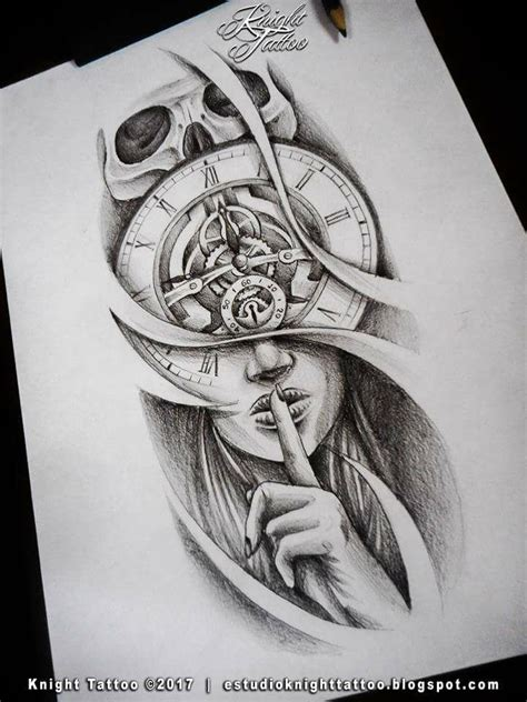clock face tattoo designs tattoodesign clock silence skull tetovani