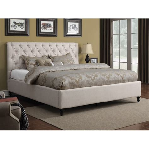 coaster upholstered bed coaster upholstered queen bed in oatmeal 300403q