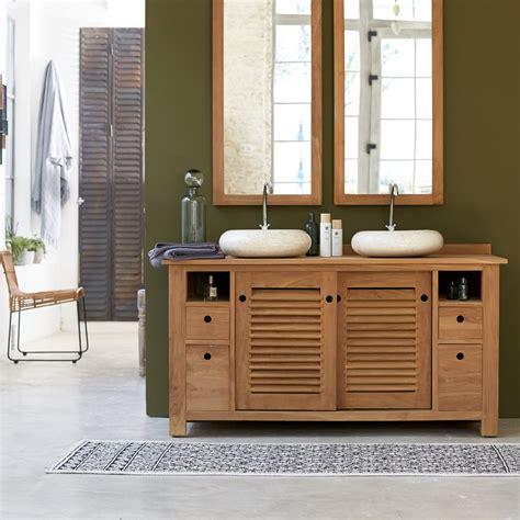 meuble salle de bain teck solde meuble pour salle de bain en teck meubles coline duo sous vasque tikamoon