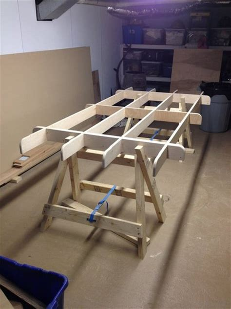 folding cutting table plans plywood cutting table by skippy906 lumberjocks com