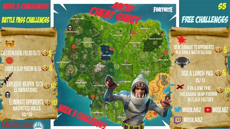 fortnite week 3 challenges mod sheet guide for fortnite battle royale season 5