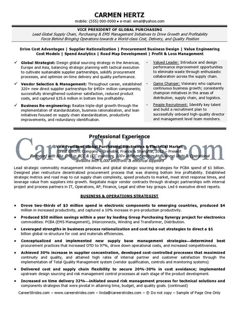 vice president resume sle by an executive certified resume writer exle