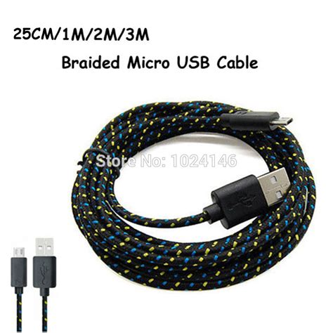 Samsung V8 Braided Micro Usb Cable 1 Meter Purple 25cm 1m 2m 3m strong fabric braided v8 micro usb sync data charger cord charging cable for