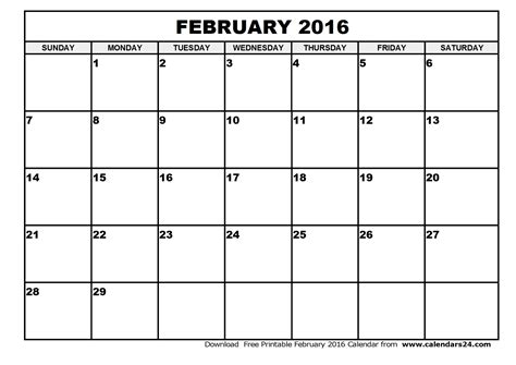 Feb 2016 Calendar February 2016 Calendar Global New