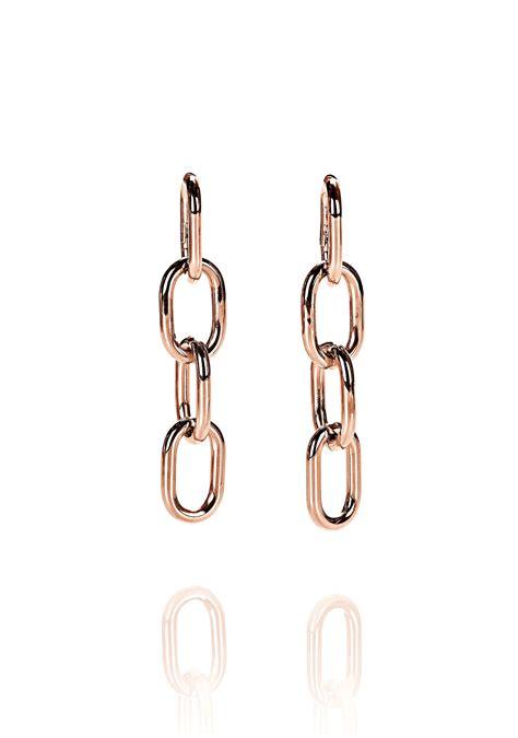 Chain Earring wang four link chain earrings in gold in