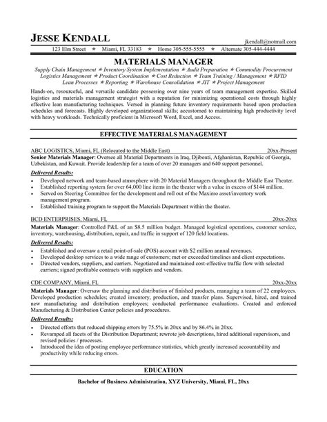 material manager resume the letter sle