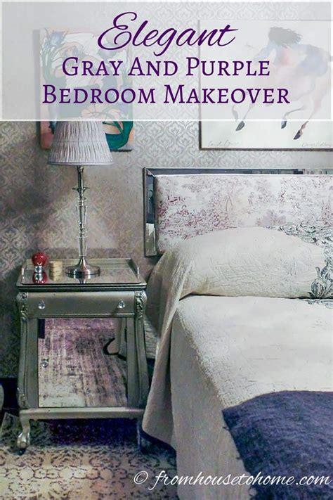 elegant gray  purple bedroom makeover