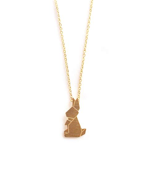 Origami Rabbit Necklace - stainless steel origami rabbit necklace in gold arva co