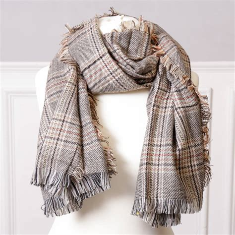 Bab255 White beige and grey unisex check scarf with free gift bag by
