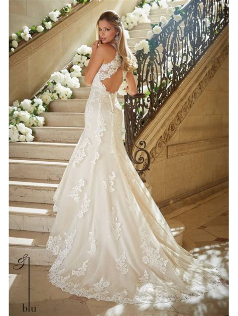 mori 5469 ivory beaded fit flare wedding gown with