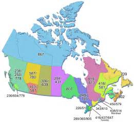 fax area codes in canada