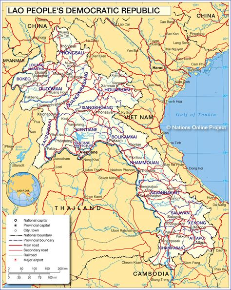 map of laos political map of laos nations project