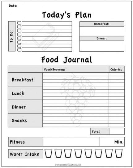 best printable food journal daily food diary template invitation template