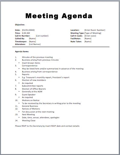 Basic Meeting Agenda Template Printable Meeting Agenda Templates Meeting Minutes Template