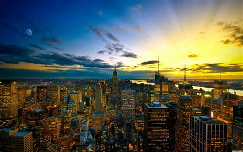 new york city skyline sunset wallpaper hd desktop wallpaper