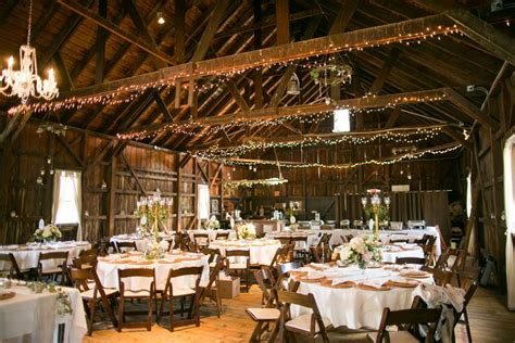 barn weddings in nj barn reception with string lights