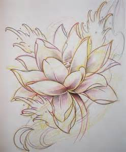 Lotus Flower Sketch Ink Flower By Elaine Currin