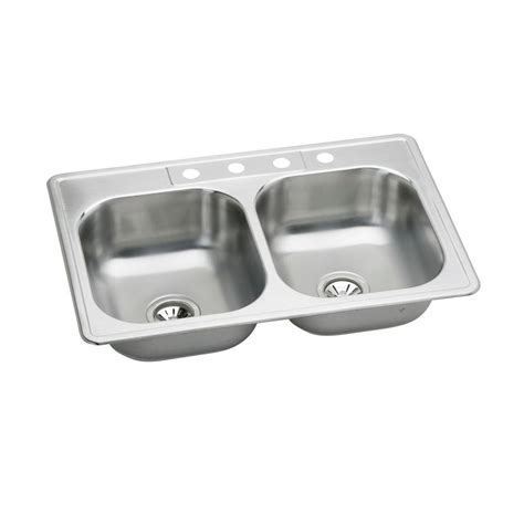 Top Mount Kitchen Sinks Stainless Steel Elkay Neptune Top Mount Stainless Steel 33 In 4 Bowl Kitchen Sink Hd114658 The