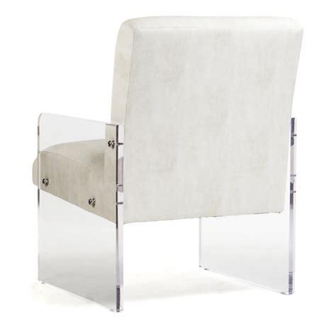acrylic arm chair modern deco ivory faux leather acrylic arm chair