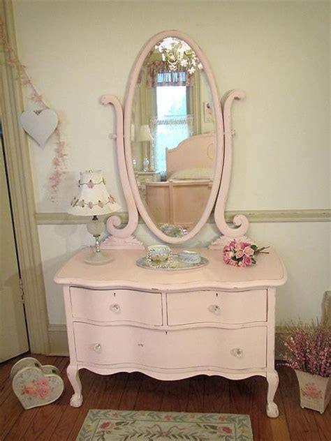 Shabby Chic Dresser With Mirror by Pink Antique Dresser With Oval Harp Mirror