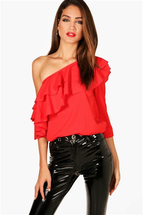 Hailey Ruffle 1 Boohoo Hailey Woven Ruffle One Shoulder Blouse In