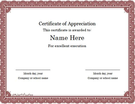 template for certificate of appreciation in microsoft word 6 formatted printable certificate templates certificate
